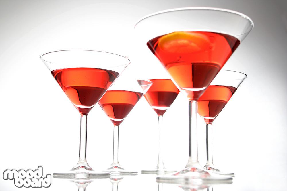 Studio shot of drinks i martini glasses