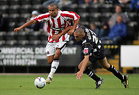 Photo: Paul Thomas.<br /> Notts County v Sheffield United. Pre Season Friendly. 01/08/2006.<br /> <br /> Danny Webber of Sheffield (L) tries to get past Dan Gleeson.