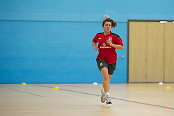 TREFOREST, WALES - Tuesday, February 14, 2011: Wales' Danielle Oates during a fitness testing day at the Glamorgan Sports Park. (Pic by David Rawcliffe/Propaganda)