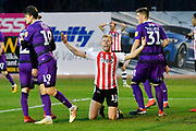 Jayden Stockley (11) of Exeter City appeals for a penalty during the EFL Sky Bet League 2 match between Exeter City and Grimsby Town FC at St James' Park, Exeter, England on 29 December 2018.