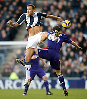 Photo: Steve Bond/Richard Lane Photography. West Bromwich Albion v Newcastle United. Barclays Premiership. 07/02/2009. Roman Bednar (L) out jumps Steven Taylor (R)