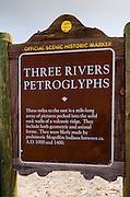 Historic landmark sign at Three Rivers Petroglyph Site, Three Rivers, New Mexico USA