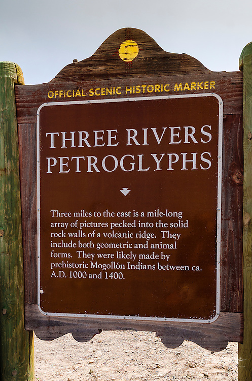 Historic landmark sign at Three Rivers Petroglyph Site, Three Rivers, New Mexico USA