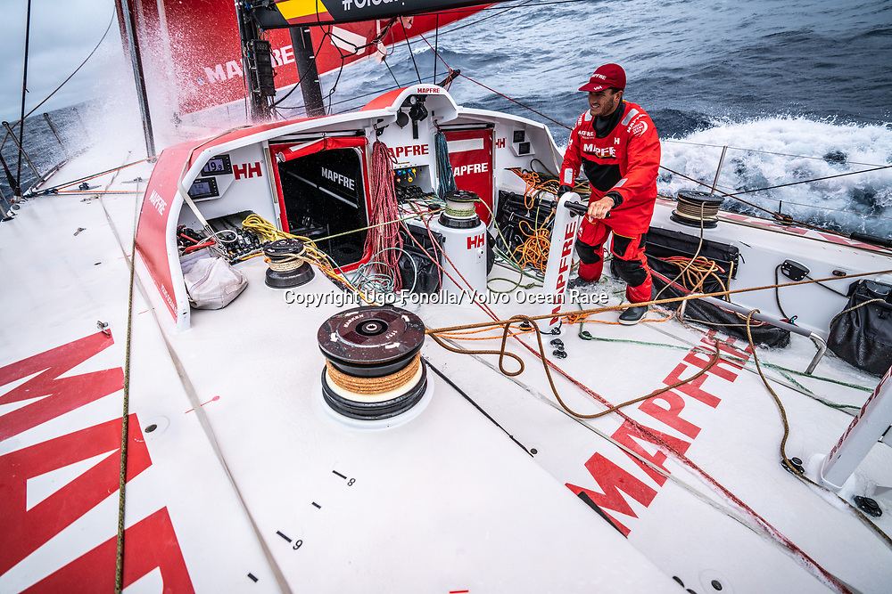 Leg 9, from Newport to Cardiff, day 02 on board MAPFRE, Blair Tuke trimming. 21 May, 2018.