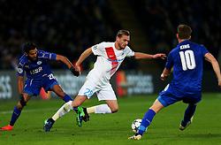 Laurens de Bock of Club Brugge is fouled by Riyad Mahrez of Leicester City  - Mandatory by-line: Matt McNulty/JMP - 22/11/2016 - FOOTBALL - King Power Stadium - Leicester, England - Leicester City v Club Brugge - UEFA Champions League
