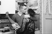 Kelly and Gavin kiss at Hawthorne Road, high Wycombe, UK, 1980s.