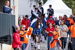 WERTH Isabell (GER), Bella Rose, SCHNEIDER Dorothee (GER), Showtime FRH, VON BREDOW-WERNDL Jessica (GER), TSF Dalera BB, ROTHENBERGER Soenke (GER), Cosmo<br /> Rotterdam - Europameisterschaft Dressur, Springen und Para-Dressur 2019<br /> Siegerehrung Team Wertung<br /> Longines FEI European Championships Dressage Grand Prix - Teams (2nd group)<br /> Teamwertung 2. Gruppe<br /> 20. August 2019<br /> © www.sportfotos-lafrentz.de/Sharon Vandeput