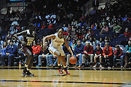 "Mississippi Lady Rebels forward Shequila Joseph (11) vs. Mississippi State Lady Bulldogs center Martha Alwal (10) at the C.M. ""Tad"" Smith Coliseum in Oxford, Miss. on Thursday, January 22, 2015. (AP Photo/Oxford Eagle, Bruce Newman)"