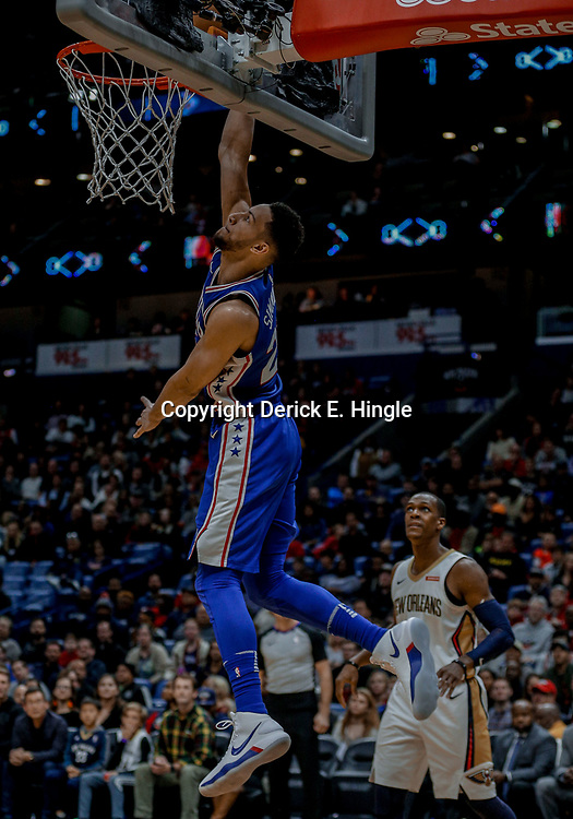 Dec 10, 2017; New Orleans, LA, USA; Philadelphia 76ers guard Ben Simmons (25) dunks against the New Orleans Pelicans during the second half at the Smoothie King Center. The Pelicans defeated the 76ers 131-124. Mandatory Credit: Derick E. Hingle-USA TODAY Sports
