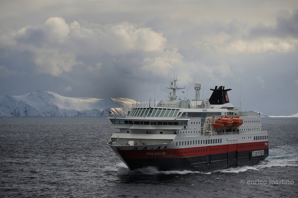 The Hurtigruten MS Richard With ship, the Norwegian Coastal Express line near the Magerøya island, the island of North Cape.