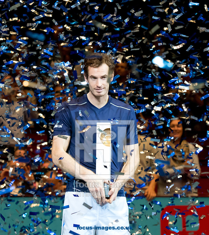 Andy Murray with the trophy during the final of the Erste Bank Open at Wiener Stadthalle, Vienna, Austria.<br /> Picture by EXPA Pictures/Focus Images Ltd 07814482222<br /> 30/10/2016<br /> *** UK &amp; IRELAND ONLY ***<br /> EXPA-PUC-161030-0438.jpg