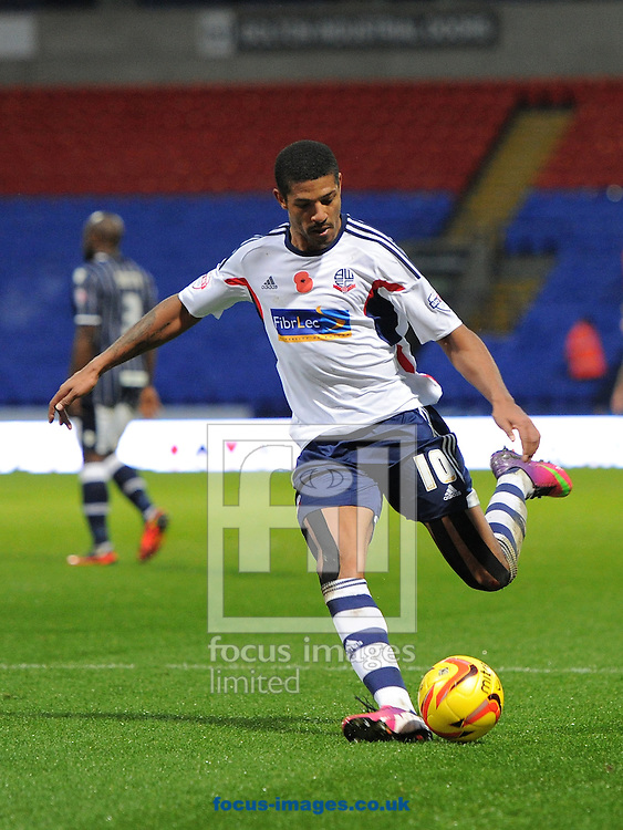 Picture by Alan Wright/Focus Images Ltd 07733 196489<br /> 09/11/2013<br /> Jermaine Beckford of Bolton Wanderers in action against Millwall during the Sky Bet Championship league match at the Reebok Stadium, Bolton.