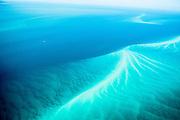 Aerial view of sandbars off the coast of Fraser Island, Queensland, Australia