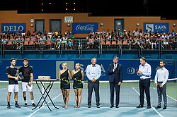 Winner Constant Lestienne (FRA), Runner up Andrea Arnaboldi (ITA), Tadeja Dolinsek, Spela Kosi,  Gasper Bolhar, Borut Pahor, president of Slovenia, Marko Umberger, president of Tenis Slovenija and Aljaz Kos, tournament director during the Trophy ceremony after the Final Singles match at Day 9 of ATP Challenger Zavarovalnica Sava Slovenia Open 2018, on August 11, 2018 in Sports centre, Portoroz/Portorose, Slovenia. Photo by Vid Ponikvar / Sportida