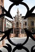Tomb of Cangrande I in the della Scala cemetery, 14th century,  Church of Santa Maria Antica, 1185, Verona, Italy, seen through the fence of a tomb. This Romanesque church was the private church of the Della Scala family who ruled Verona during the 14th century. The tombs are masterpieces of Gothic art. Picture by Manuel Cohen.