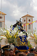 "THE STATUE OF THE LORD OF GUALAMITA ""SEN?OR DE GUALAMITA"" COMING OUT FROM THE CHURCH."
