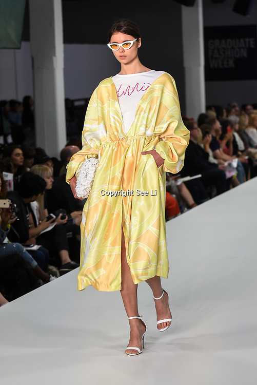 Designer Elizabeth Midwinter showcases lastest collection of Bath Spa University at the Graduate Fashion Week 2018, 4 June 4 2018 at Truman Brewery, London, UK.