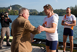 Iztok Cop and Janez Fajfar, mayor of Bled, during rowing at Slovenian National Championship and farewell of Iztok Cop, on September 22, 2012 at Lake Bled, Ljubljana Slovenia. (Photo By Matic Klansek Velej / Sportida)