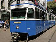 03 AUGUST 2007 -- ZURICH, SWITZERLAND:  A street car on the streets in Zurich, Switzerland.   PHOTO BY JACK KURTZ