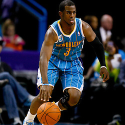 October 29, 2010; New Orleans, LA, USA; New Orleans Hornets point guard Chris Paul (3) drives with the ball during the first half against the Denver Nuggets at the New Orleans Arena.  Mandatory Credit: Derick E. Hingle
