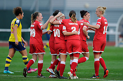 Bristol Academy Women's Nikki Watts celebrates with her team mates after scoring. - Photo mandatory by-line: Dougie Allward/JMP - Mobile: 07966 386802 - 20/09/2014 - SPORT - FOOTBALL - Bristol - SGS Wise Campus - BAWFC v Arsenal Ladies - FA Womens Super League