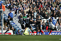 Photo: Lee Earle.<br /> Portsmouth v Blackburn Rovers. The Barclays Premiership. 08/04/2006. Pompey's Lomana Lua Lua (R) fires home the first half equalising goal.