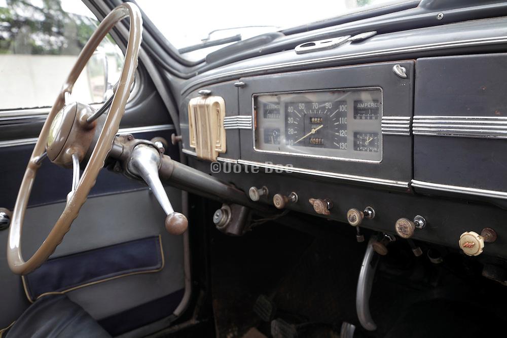 interior of an antique car