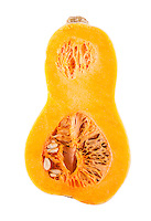 Half butternut squash over white background