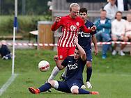 FODBOLD: Jeppe Ødegaard (Espergærde) tackles af Adam Mecfel (Frem Hellebæk) under kampen i Serie 1 mellem Frem Hellebæk og Espergærde IF den 26. august 2017 ved Nordkysthallen. Foto: Claus Birch
