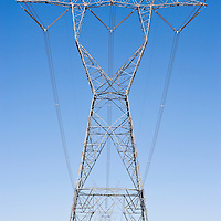 Electric pylons by the road, California