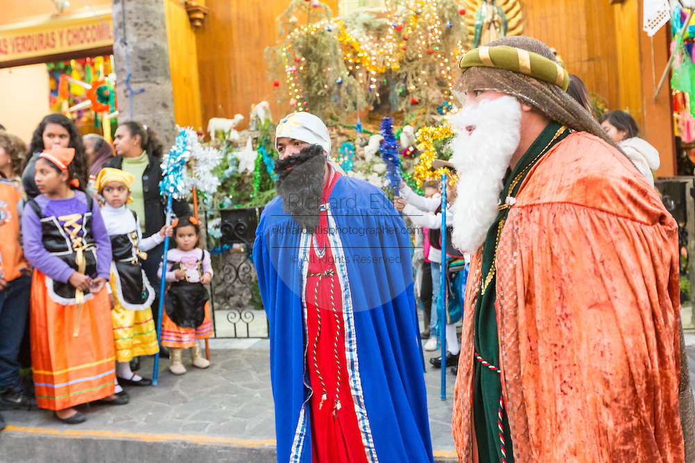 The Three Kings during El Dia de Reyes January 6, 2016 in San Miguel de Allende, Mexico. The traditional festival marks the culmination of the twelve days of Christmas and commemorates the three wise men who traveled from afar, bearing gifts for the infant baby Jesus.