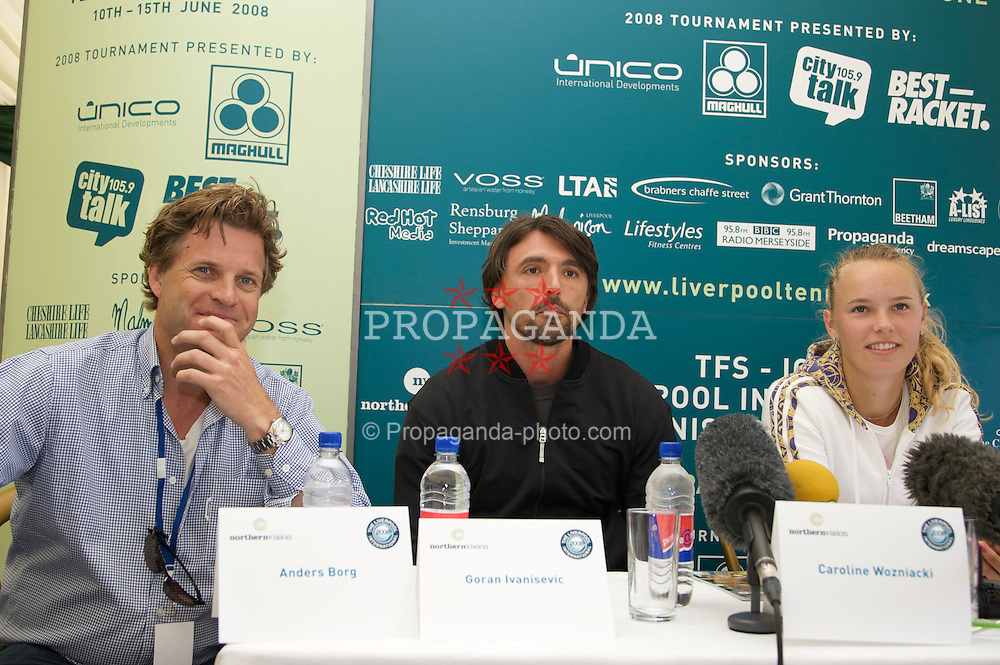 LIVERPOOL, ENGLAND - Tuesday, June 10, 2008: Tournament Director Anders Borg, Goran Ivanisevic (CRO) and Caroline Wozniacki (DEN) at a press conference during the opening day of the Tradition-ICAP Liverpool International Tennis Tournament at Calderstones Park. (Photo by David Rawcliffe/Propaganda)