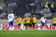 7.11.2011, Olympiastadion, Helsinki..UEFA European Championship 2012 Qualifying match, Finland v Sweden / EM-karsintaottelu Suomi - Ruotsi. .Ruotsi juhlii 2-0 maalia sateessa...