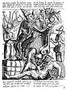 Ferdinand Alvarez de Toledo, Duke of Alva (1508-82) Spanish general and statesman. As lieutenant-general in the Netherlands 1567-73, enforced brutal anti-Protestant rule. Alva embracing the Papacy (Babylon/corruption) Engraving published in the Netherland