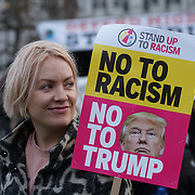 London,England,UK. Hundreds of anti-Trump proestors rally to Stop Trump - Stop Brexit visits London in Parliament Square,London,UK. by See Li