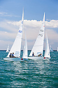 Star Class racing at Bacardi Miami Sailing Week race 1, day 1.