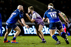 Luke Cowan-Dickie of Exeter Chiefs takes on Jono Ross of Sale Sharks - Mandatory by-line: Robbie Stephenson/JMP - 08/12/2019 - RUGBY - AJ Bell Stadium - Manchester, England - Sale Sharks v Exeter Chiefs - Heineken Champions Cup
