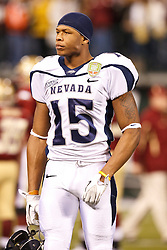 January 9, 2011; San Francisco, CA, USA;  Nevada Wolf Pack wide receiver Rishard Matthews (15) warms up before the 2011 Fight Hunger Bowl against the Boston College Eagles at AT&T Park. Nevada defeated BC 20-13.