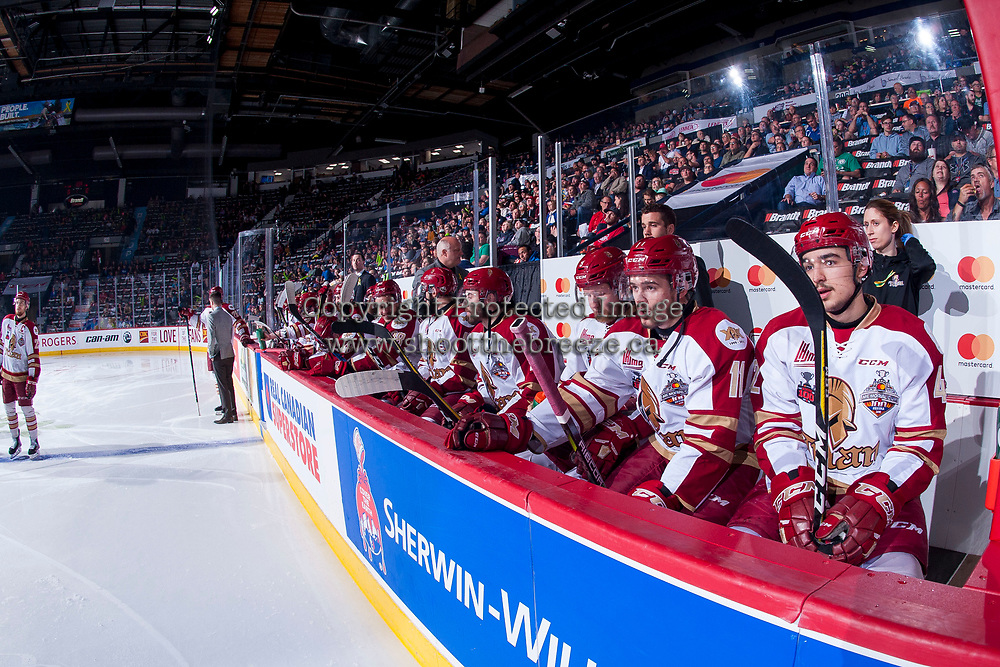 REGINA, SK - MAY 22: Acadie-Bathurst Titan bench at the Brandt Centre on May 22, 2018 in Regina, Canada. (Photo by Marissa Baecker/CHL Images)