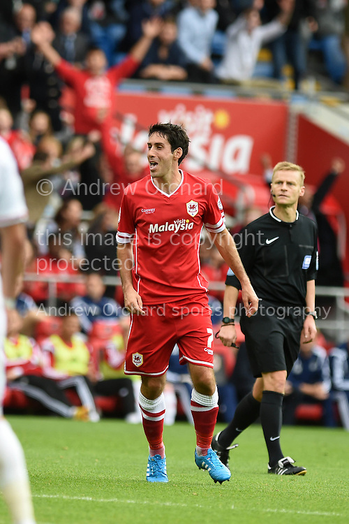 Peter Whittingham of Cardiff city  (7) celebrates after he scores his teams 2nd goal.  Skybet football league championship match, Cardiff city v Nottingham Forest at the Cardiff city stadium in Cardiff, South Wales on Saturday 18th October 2014<br /> pic by Andrew Orchard, Andrew Orchard sports photography.