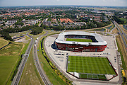 Nederland, Noord-Holland, Alkmaar, 14-07-2008; DSB Stadion van AZ, de grasmat bestaat uit en mengsel van normaal gras en kunstgras; rond het stadion parkeerterrein en oefenvelden.AZ '67; Dirk Scheringa Bank, . .luchtfoto (toeslag); aerial photo (additional fee required); .foto Siebe Swart / photo Siebe Swart