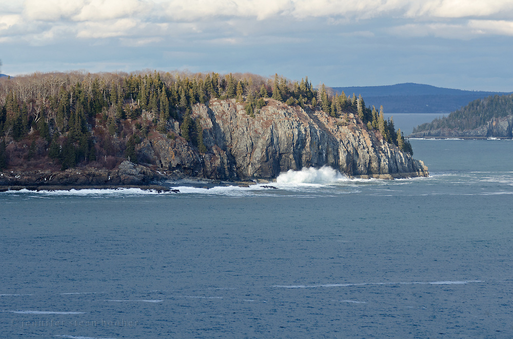Long Porcupine Island, with the tip of Bald Porcupine at right and the Schoodic Pennisula in the distance, Acadia National Park, Maine