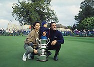 Seve Ballesteros World Matchplay Championship Wentworth 1991with his wife and son <br /> Picture Credit:  Mark Newcombe / www.visionsingolf.com