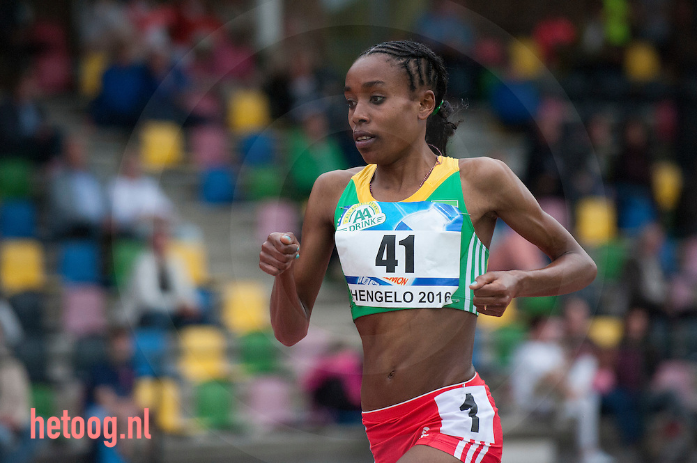 Netherlands,Hengelo 30 june 2016 FBK Almaz Ayana (nr 1/41) world leading time woman 10K 10.000 meters time 30:07:04 seconds