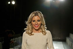 © licensed to London News Pictures. London, UK 02/02/12. Mollie King attends to London College of Fashion (LCF) catwalk at V&A Museum in London. Home Secretary Theresa May and celebrities are amongst the guests. Photo credit: Tolga Akmen/LNP