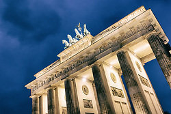 Night view of Brandenburg Gate in Berlin, Germany