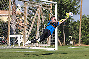 Forest Green Rovers goalkeeper Sam Russell(23) makes a save during training during the Forest Green Rovers Training session at Browns Sport and Leisure Club, Vilamoura, Portugal on 24 July 2017. Photo by Shane Healey.