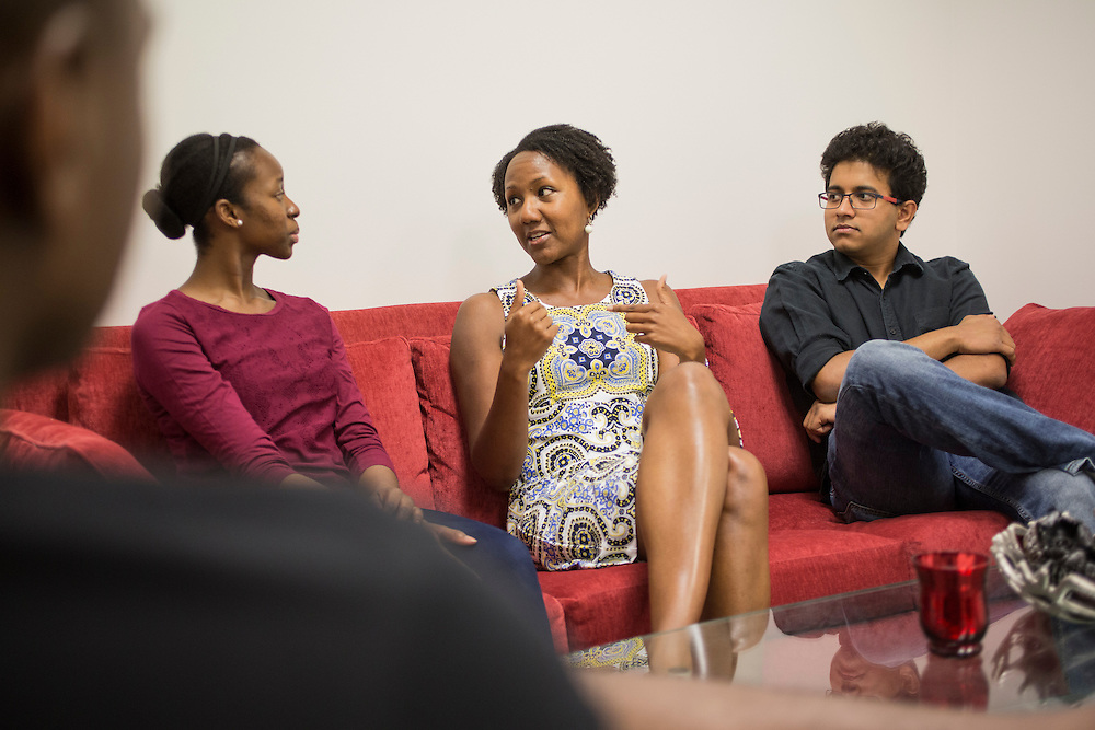 Dr. Sherilynn Black, middle, a neuroscientist who created and runs the Office of Biomedical Diversity, speaks with program participants Ife Ayeni, left, and Nandan Gokhale, right, on the campus of Duke University in Durham, North Carolina, Friday, June 24, 2016. Few college students from underrepresented groups seek doctorates, particularly in STEM fields. Duke University&rsquo;s medical school created the Office For Biomedical Diversity six years ago to see if they could change that equation. Now, not only are more minority students are entering Duke's biomedical PhD programs, but they&nbsp;are performing better once there.&nbsp;<br /> <br /> D.L. Anderson for The Chronicle of Higher Education