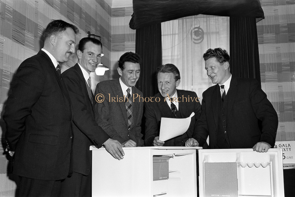 31/01/1962<br /> 01/31/1962<br /> 31 January 1962<br /> A.E.I. Gala Meetings for wholesalers at the Moria Hotel Dublin. Pictured are A.E.I. - Gala staff (l-r): D.G.P. Hanley (Midlands Representative); S. Hayes (Dublin and Northern Representative); Tom J. Lynam, (Office Manager); P.N. Walsh (Area manager for Ireland) and D.A. McStay, (Southern Representative).