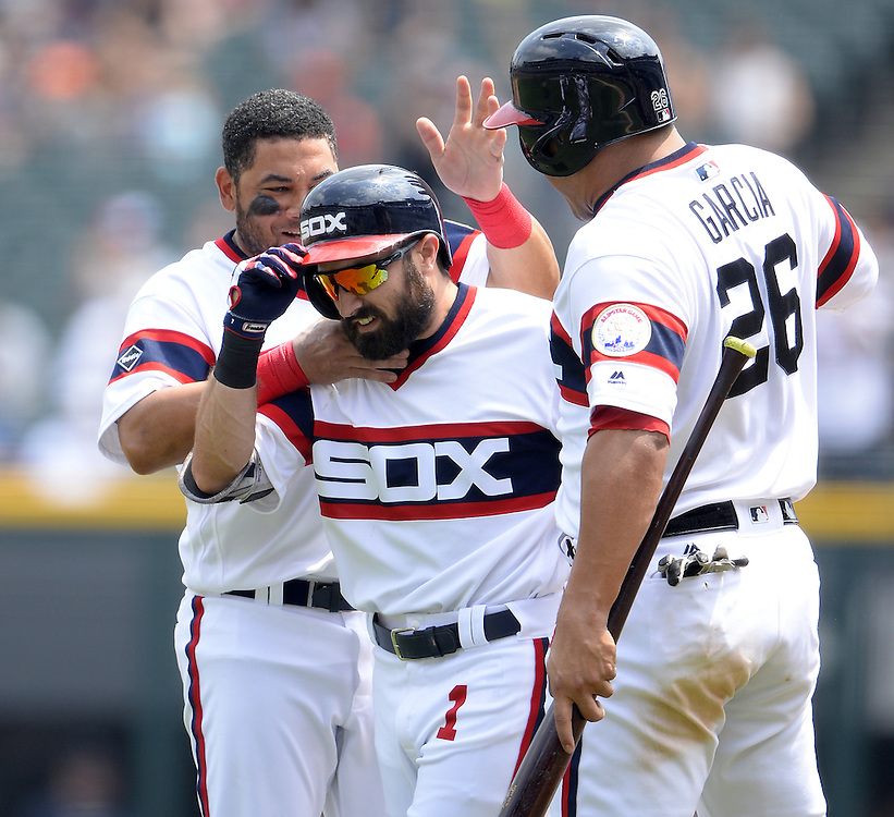 CHICAGO - JULY 24:  Adam Eaton #1 of the Chicago White Sox celebrates with teammates after driving in the winning run against the Detroit Tigers on July 24, 2016 at U.S. Cellular Field in Chicago, Illinois.   (Photo by Ron Vesely) Subject:    Adam Eaton